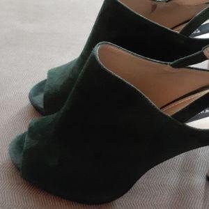 White House Black Market green suede heels